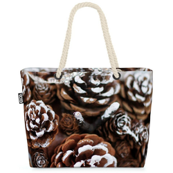 VOID Strandtasche (1-tlg), Tannenzapfen Schnee Deko Beach Bag Tannenzapfen Zapfen Advent Adventskranz Wint