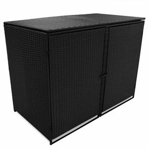 vidaXL Mülltonnenbox für 2 Tonnen Poly Rattan Schwarz 148x80x111 cm (43887)
