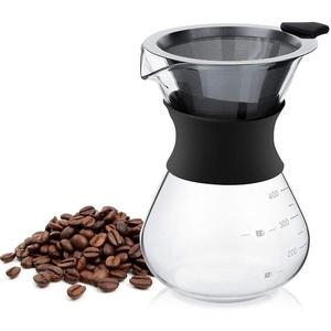 Pour Over Kaffeebereiter, Kaffeekanne Mit Permanent Edelstahl Kaffeefilter, Manuelle Glas Kaffeemaschine für Aufbrühen des Kaffees - 400ml