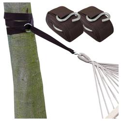 eyepower Schaukelhaken XXL Befestigung für Hängematte an Bäumen 6,4 m, Braun Set+2 Stahlringe+S-Haken