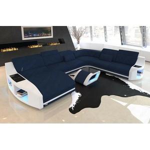 Wohnlandschaft XXL Sofa Couch SWING Mega Polstersofa Mikrofaser Modern Blau LED