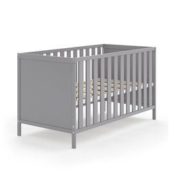 VitaliSpa® Babybett JONAS 70x140cm Gitterbett Umbaubett Kinderbett umbaubar grau