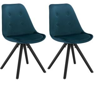 2x Esszimmerstühle Küchenstühle Wohnzimmerstuhl Samt Gepolstert Blau Bh196bl-2