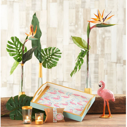 Paper+Design Papierserviette Flamingo Garten, 33 cm x 33 cm