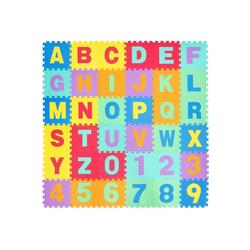 COSTWAY Puzzlematte Puzzlematte, Puzzleteile, 36 Stück mit abnehmbarem Alphabet und Zahlen, Kinderteppich je 31,5x31,5x1cm, Spielteppich Eva, Krabbelmatte
