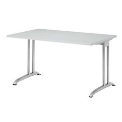 Lüllmann Schreibtisch Schreibtisch Barcelona 720 x 1200 x 800 mm C-Fuß Design (1-St), Horizontale Kabelwanne, 5 mm Nivellierfüße grau