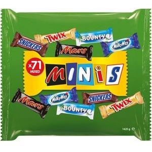 Mars-Minis Schokoriegel Mixed Minis, verschiedene Sorten, 1,425kg, 71 Mini-Riegel