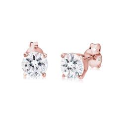 Elli Paar Ohrstecker Funkelnd Kristalle 925 Sterling Silber, Kristall Ohrstecker rosa