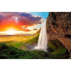Fototapete Waterfall, Iceland, glatt 3,50 m x 2,60 m