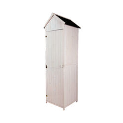 Armoire abri de jardin remise pour outils 3 étagères porte loquet toit pente bitumé 68L x 65l x