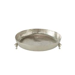 Meinposten Dekoschale Große Schale silber Metall Dekoschale Deko Tischdeko maritim Seepferdchen Ø 40cm (1 Stück), mit 3 Seepferdchen als Standfüße