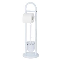 WENKO Exclusiv Siena Stand WC-Garnitur, Toilettenpapier-Rollenhalter und Toilettenbürstenhalter, Maße (B x H): Ø 19 x 63 cm