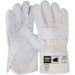 """Fitzner  """"Friese"""" Rindspaltleder-Handschuh, Naturhandschuh mit guten Abriebwerten, 1 Packung = 12 Paar, Größe: 9"""