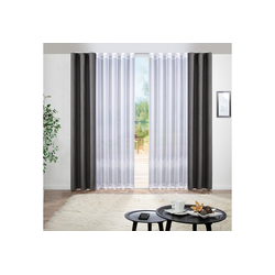 Vorhang Gardine, Bonilo, Gardine auf Maß, 1:2 Wellenband New Wave 300 cm x 145 cm