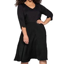 Sheego Abendkleid sheego Midi-Kleid umwerfend schönes Damen Abend-Kleid mit schwingendem Rock Ausgeh-Kleid Große Größen Schwarz 46