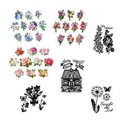 Schablonen-Set Stanzschablonen Blumen & 3D-Motive 46tlg.