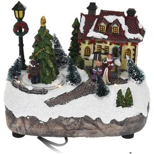 Weihnachtsszene LED Beleuchtung Frau Kind Weihnachtsmann Santa Claus Weihnachten