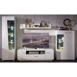 Wohn-Concept Wohnwand Alibaba in weiß/grau Hochglanz