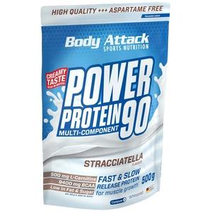 Body Attack Power Protein 90, 5K Eiweißpulver mit Whey-Protein, L-Carnitin und BCAA für Muskelaufbau und Fitness, Made in Germany (Stracciatella Flavour, 500g)