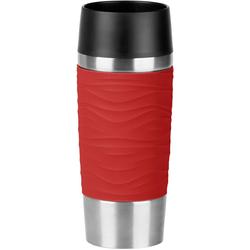 Emsa Thermobecher Travel Mug Wave, 360 ml rot und Coffee to go Geschirr, Porzellan Tischaccessoires Haushaltswaren