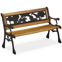 Relaxdays Kinder Gartenbank mit Tier-Motiv 83 x 37 x 51 cm natur