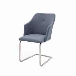 Design Freischwinger in Grau Blau Armlehnen (2er Set)