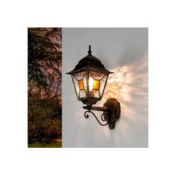 Licht-Erlebnisse Außen-Wandleuchte SALZBURG XL Außenleuchte Wandlampe Tiffany Stil Ornamentglas Lampe