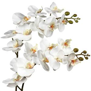 Künstliche Orchidee Kunstblumen Orchidee Gefühlsechte Orchidee Künstlich mit 9 kräftigen Blüten Zimmerpflanze Kunstpflanze Länge 87.8 cm
