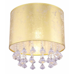 Deckenleuchte, Kristall, Stoffschirm, Gold, E27 60 Watt