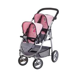 Bayer Puppenwagen Zwillingspuppenwagen pink/grau