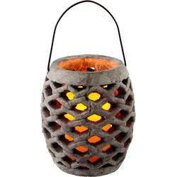 Laterne Keramik Windlicht mit LED, Maße (H): 17 cm