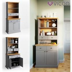 VICCO Küchenregal CAMBRIDGE 80 cm Vitrine Buffet Küchenregal Landhaus grau Eiche