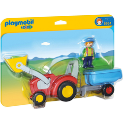Playmobil® Spielfigur PLAYMOBIL® 6964 1-2-3: Traktor mit Anhänger