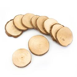 10 Holz Scheiben Untersetzer mit Rinde Holzdeko