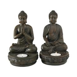 """BOLTZE Teelichthalter 2er-Set Teelichthalter """"Buddha"""" 11 x 11 x 19 cm"""