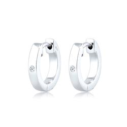 Ohrringe Creole Diamant (0.03 Ct) Geschenkidee Silber DIAMORE Weiß