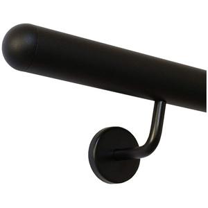 Handlauf schwarz pulverbeschichtet V2A Edelstahl Geländer innen außen wetterfest beständig 0,3m - 6m aus einem Stück Variante:30 cm mit 2 Halter halbrunde Kappe