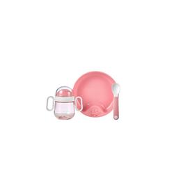Mepal Kindergeschirr-Set Geschirr Set Set Babygeschirr Mepal Mio 3-teilig (3-tlg), Kunststoff rosa