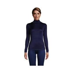 Seidenunterhemd mit Rollkragen, Damen, Größe: XS Normal, Blau, by Lands' End, Tiefsee - XS - Tiefsee