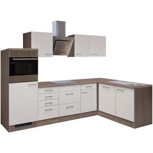 Eckküche EICO - L-Küche mit E-Geräten - Breite 280 x 170 cm - Creme Samtmatt