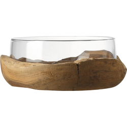 LEONARDO Obstschale Terra, Glas, Ø 28 cm, mit Teaksockel Ø 28 cm x 11 cm