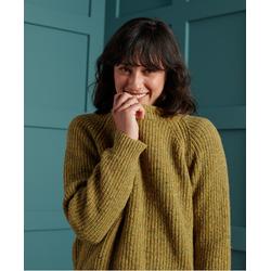 Superdry Freya Tweed Crew Senf Tweed, Gr. L, WOLLE - Damen Pullover