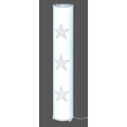 TRANGO LED Stehlampe, 1246L Modern Design Stehleuchte inkl. 2x E14 LED Leuchtmittel *STARS* Stehlampe mit Stoffschirm in WEISS mit Sternen-Dekor, Standleuchte, Deko-Stehlampe, Wohnzimmer Lampe, Höhe ca. 100cm