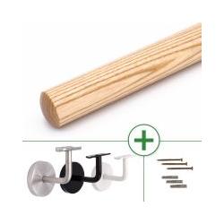 Holzhandlauf Esche rund, konfigurierbar, mit/ohne Halter, Ø 40 - 50 mm, Länge nach Maß