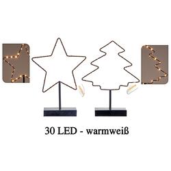 Beleuchteter Stern od Weihnachtsbaum mit 30 LED - Fensterdeko Weihnachtsbeleuchtung
