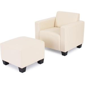 Modular Sessel Loungesessel mit Ottomane Lyon, Kunstleder ~ creme