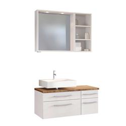 Design Badmöbel in Weiß und Wildeiche Dekor Badspiegel (dreiteilig)