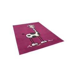 Kinderteppich Kinderteppich Trendline Giraffe Lila, Pergamon, Höhe 8 mm 140 cm x 200 cm x 8 mm