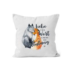 MoonWorks Dekokissen Kissen-Bezug Liebe ist nur ein Wort Fuchs Liebe Spruch Liebessprüche Geschenk für Verliebte Kissen-Hülle Deko-Kissen Baumwolle MoonWorks®