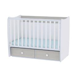Lorelli Komplettbett Babybett MATRIX NEW, Babyschaukel, 2 Schubladen, Kinderbett, 120 x 60 cm blau